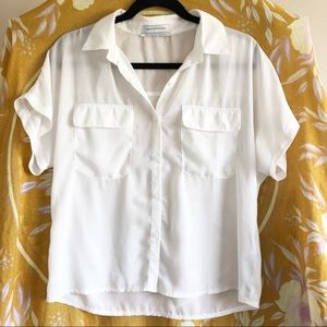 Urban Outfitters White Sheer Button Down Blouse